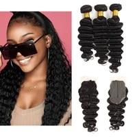 invisible lace closure 42 deep wave brazilian hair bundles 134 bundle deals 100 human hair for woman remy hair extension