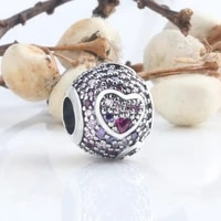 lorena authentic 925 sterling silver valentines prefers zircon beads fit original charms bracelet necklace diy jewelry making