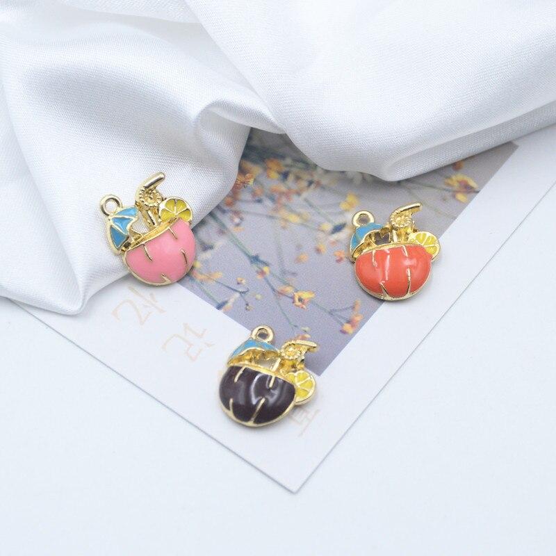 10pcs/pack Lovely  Summer drink Coconut  sun umbrella lemon Enamle Charms  Metal  Earring DIY Fashion Jewelry Accessories