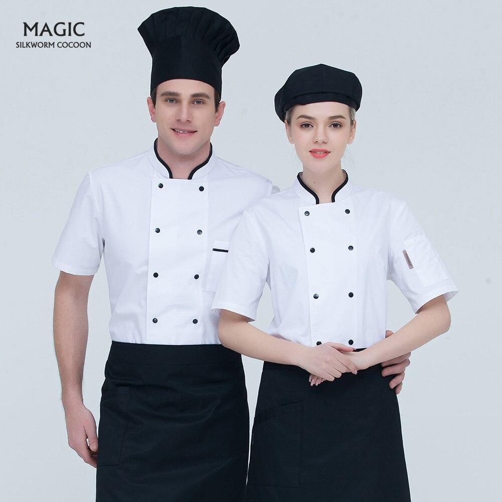 Doble pecho servicio de comida chef uniformes de manga corta Chef chaquetas restaurante comida ropa de cocinero transpirable de alta calidad