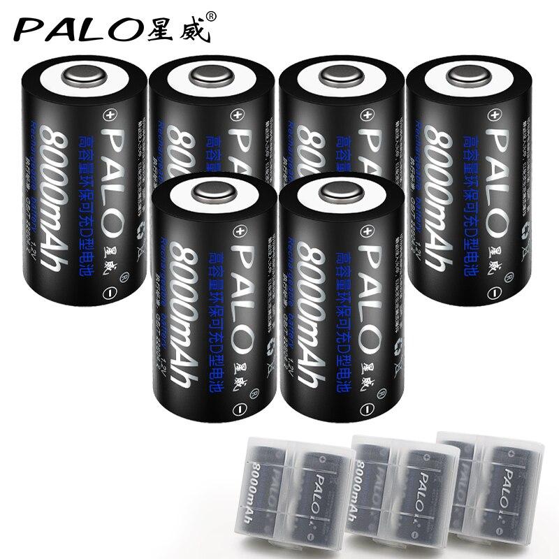 PALO 6 Pcs Original Baterias D Size Battery Bateria 8000mAh Batteries 1.2V Ni-MH Rechargeable Batteries for flashlight LED light