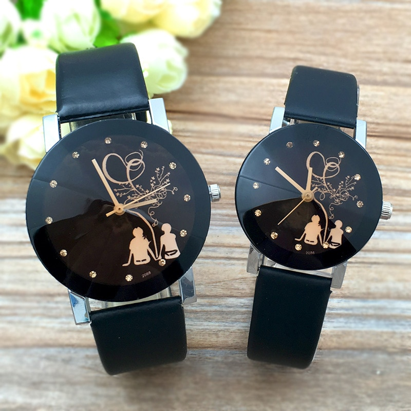 Student Couple Stylish Spire Glass Belt Quartz Watch Lovers Casual simple Clock hours Best Gifts For