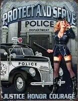 police dept protect serve tin sign bar home cafe man cave garage tin sign wall decor 12x8 inch