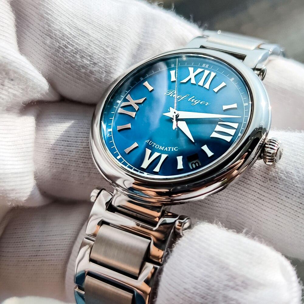 Reef Tiger/RT Luxury Automatic Mechanical Watch Steel Ladies Bracelet Watches Date Relogio Feminino RGA1595 enlarge