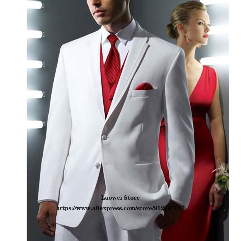 بدلة رجالية موضة بدلة زفاف بيضاء ضيقة بدلة رسمية للأعمال 3 قطع سترات رجالي ماركة Terno Masculino (جاكيت + صدرية + بنطلون)