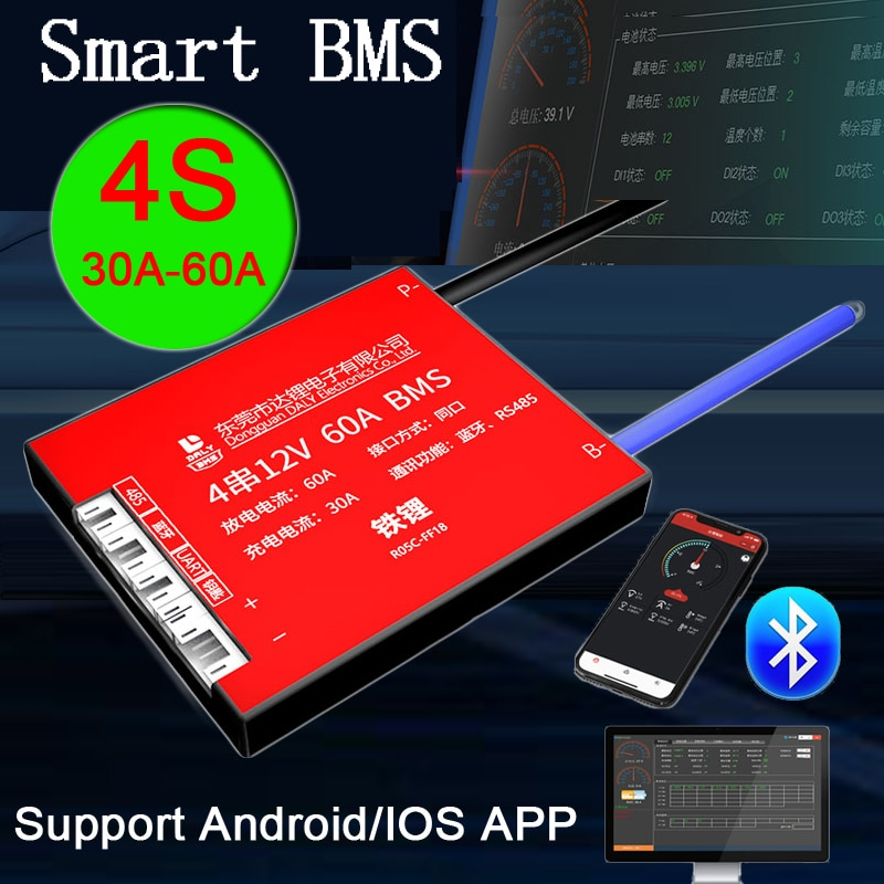 Smart BMS 4S 12V 30A 40A 60A Lifepo4 Lithium iron phosphate Battery Protection Board balance Bluetooth APP PC monitor control