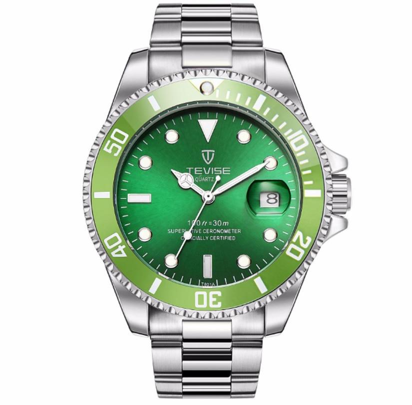 TEVISE Quartz Mens Watch Date Windows Luminous Water Ghost Wear Resistant Hardlex Classic Style Masc