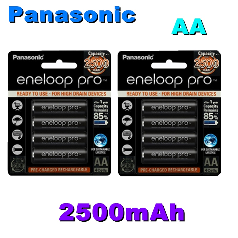 Batería recargable Panasonic Eneloop AA NI-MH 1,2 V 2500mAh para linterna Cámara juguete mando a distancia cargado de alta capacidad