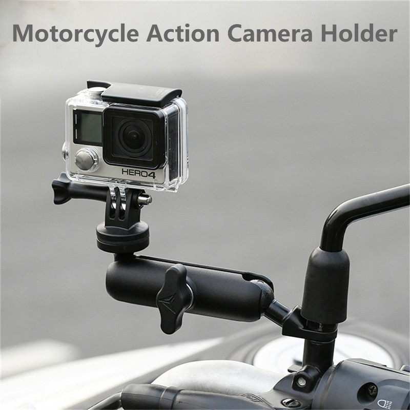 Support de caméra de moto   Support de guidon de miroir, support métallique 1/4 pour GoPro Hero8/7/6/5/4/3 + accessoire de caméras daction