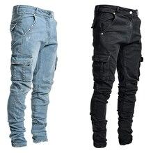 Jeans Men Pants Casual Cotton Denim Trousers Multi Pocket Cargo Jeans Men New Fashion Denim Pencil P