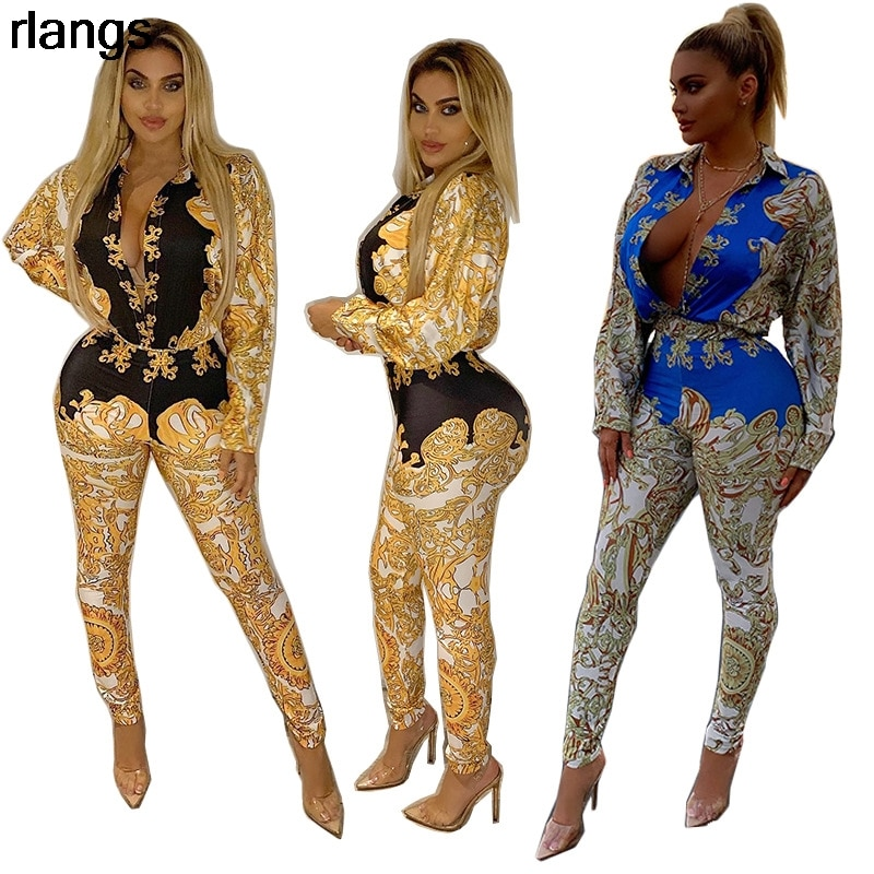 New European And American Casual Suit Women Fashion Printed Long-Sleeved Sexy Two-Piece Womens