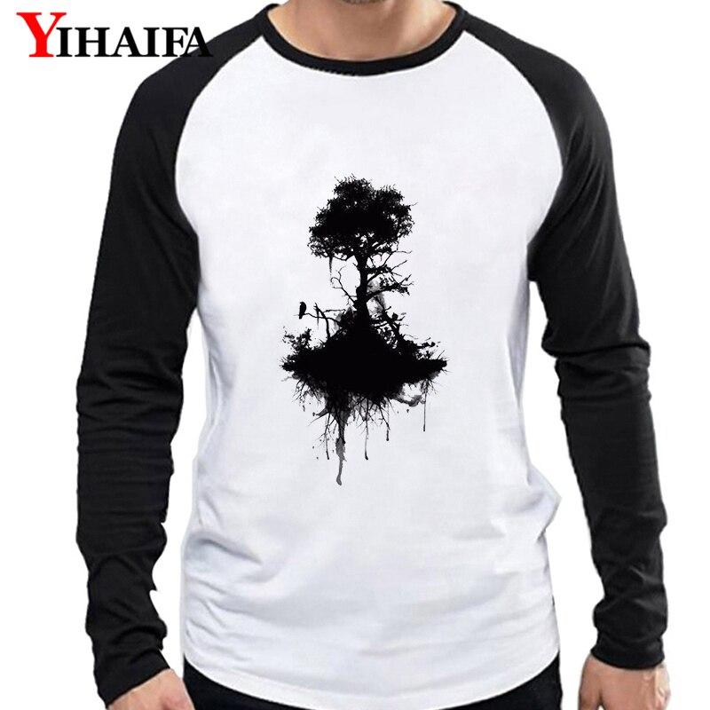 Yihaifa marca outono inverno fino homem manga longa t camisas preto tinta árvore design raglan camiseta de beisebol impressão topos masculino