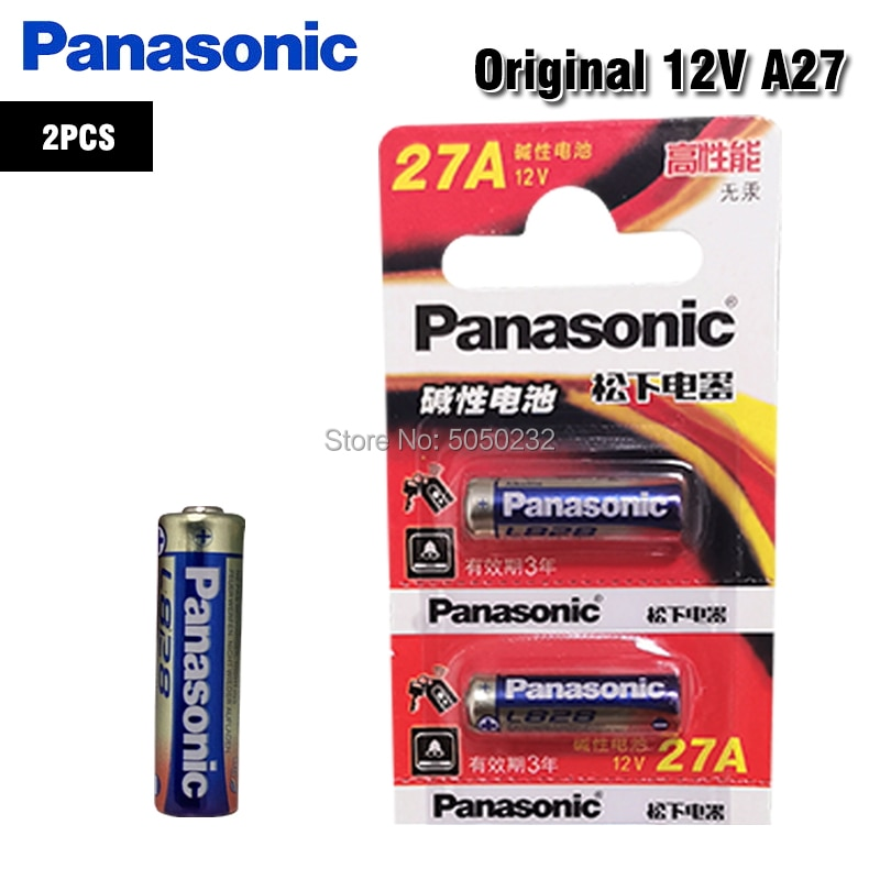 2 uds., batería alcalina Panasonic 27A 12V 27AE 27MN A27 GP27A L828 para timbre, alarma de coche, walkman, control remoto de coche, etc.