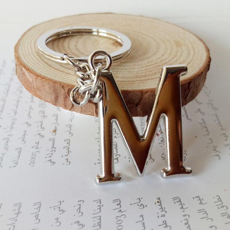 Metal diy A-Z letras chaveiro cor prata anel chave do carro feminino charme presente 26 letras chaveiro festa presente chaveiro 2221