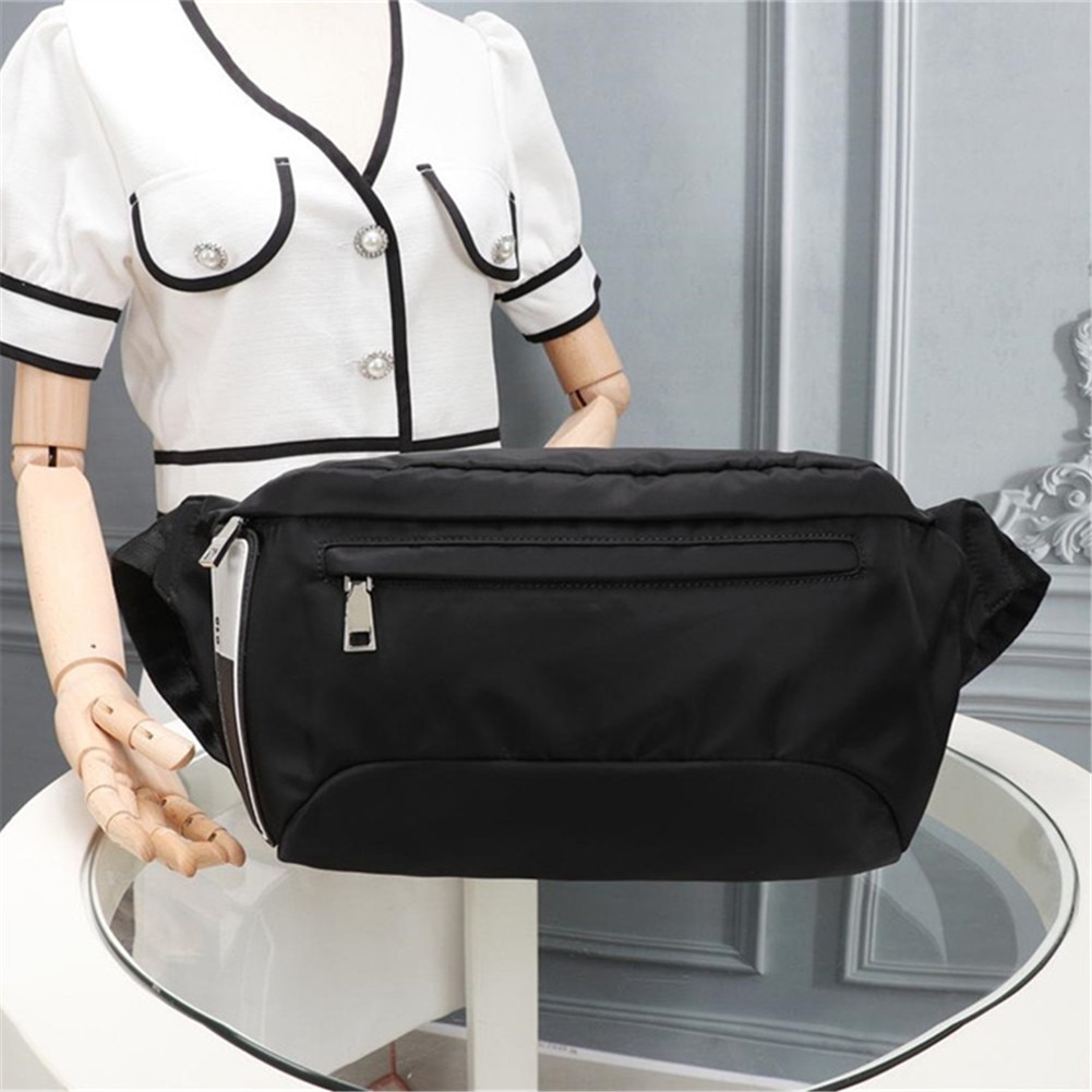 Unisex black nylon waist bag sports fitness running multifunctional waterproof portable fashion casual  backpack