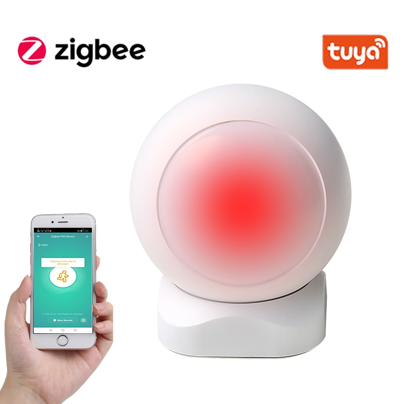 Tuya ZigBee Smart PIR Motion Sensor Built In Battery Passive Infrared Detector Security Burglar Alarm Sensor