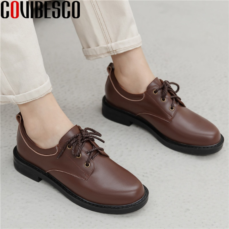 COVIBESCO Top verano Mujer 2020 otoño zapatos hechos a mano para mujeres cuero genuino zapatos de salón de tacón grueso Oficina zapatos para mujer tacón