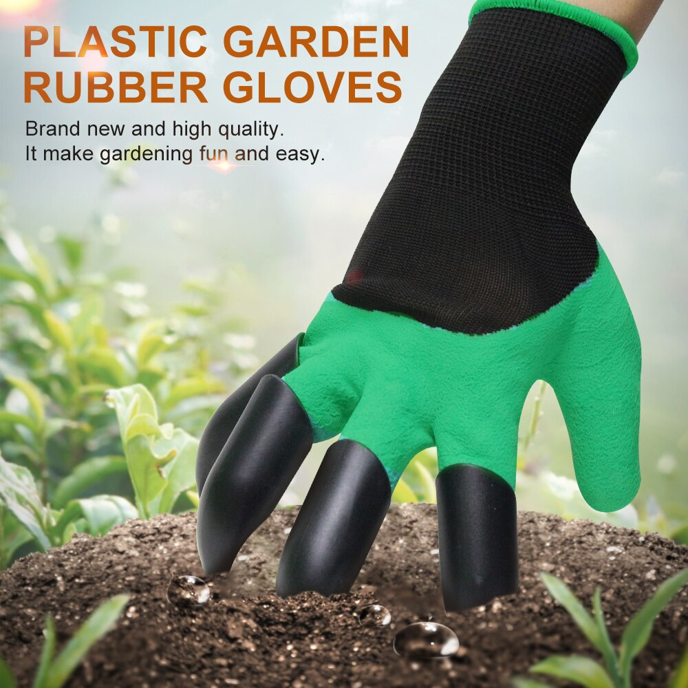 Garden Latex Nylon Gloves Plastic Durable Digging Mittens Breathable Rubber Gloves Household Hand To