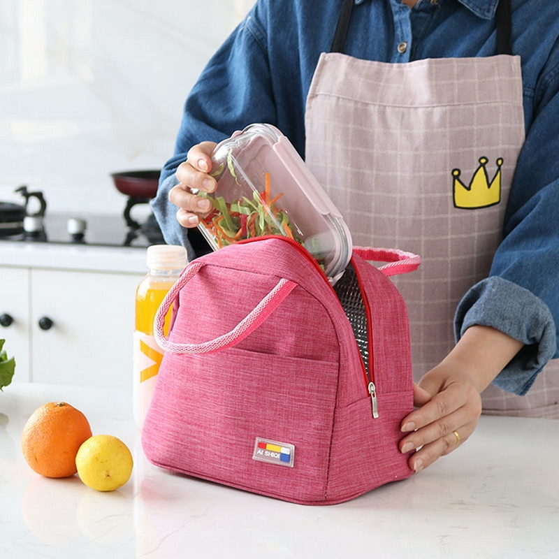 Bolsa de almuerzo portátil con aislamiento térmico bolsa de caja de almuerzo refrigerador bolso Bento bolsa contenedor de cena bolsas de almacenamiento de alimentos escolares 2020