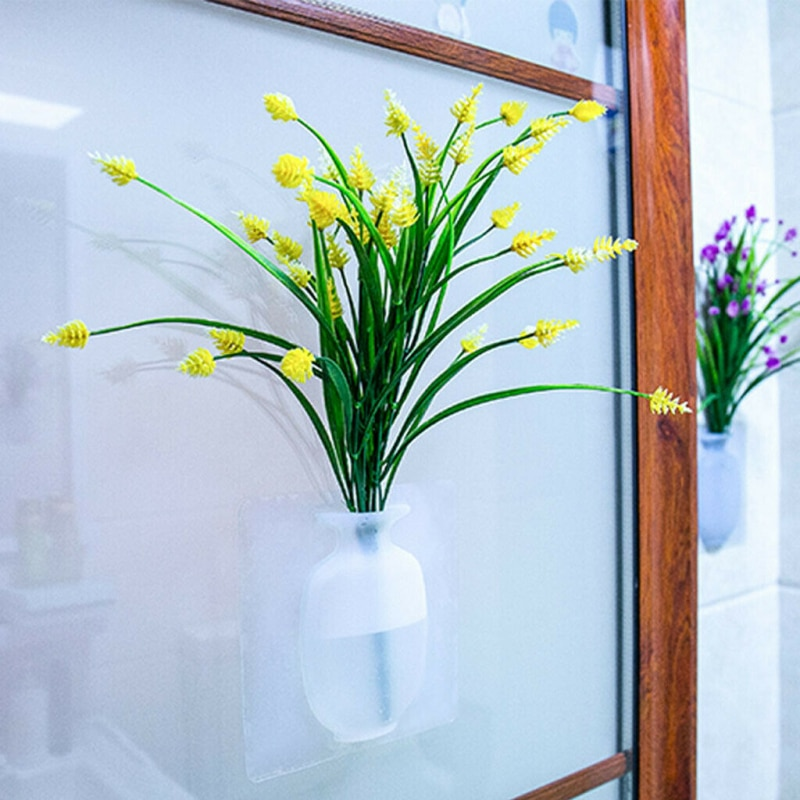 Quente diy magia de borracha silicone pegajoso vaso decoração natal pendurar parede falso flores adesivos de parede pote vasos planta jardim decoração da sua casa