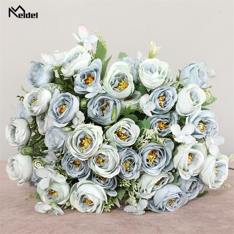 10 kepala bunga buatan bunga mawar pengiring pengantin 5 cawangan - Aksesori perkahwinan - Foto 4