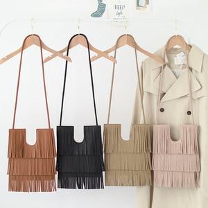 NEW Retro Women Leather Handbag Designer Leather Shoulder Bag Retro Tassel Handbag For Woman Fringe Shoulder Bags Ladies