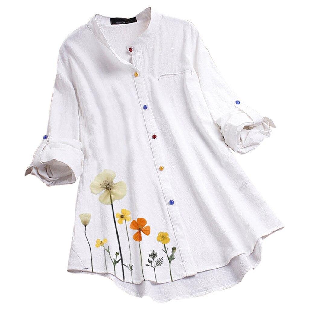 Blusa feminina vintage casual flor imprimir botão colorido manga longa camisa superior blusa feminina e blusas branco plus size