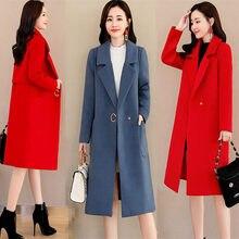 Automne et hiver vêtements dîner fête rouge tempérament costume col grande taille manteau de laine mode mince Casaco Feminino f2357