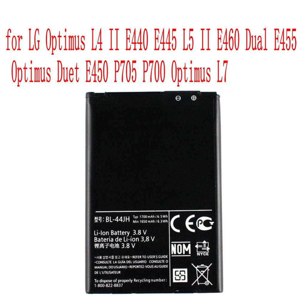 Batería BL-44JH de alta calidad 1700mAh para LG Optimus L4 II E440 E445 L5 II E460 Dual E455 Optimus Duet E450 P705 P700