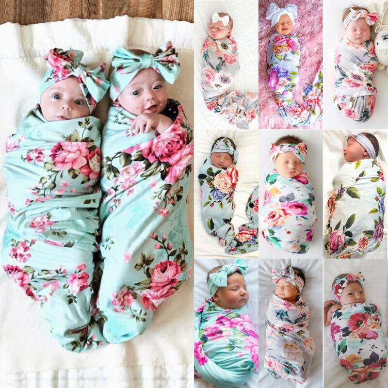 2 piezas suave bebé Floral Swaddle muselina manta recién nacido cremallera envoltura Swaddling manta capullo saco de dormir diadema