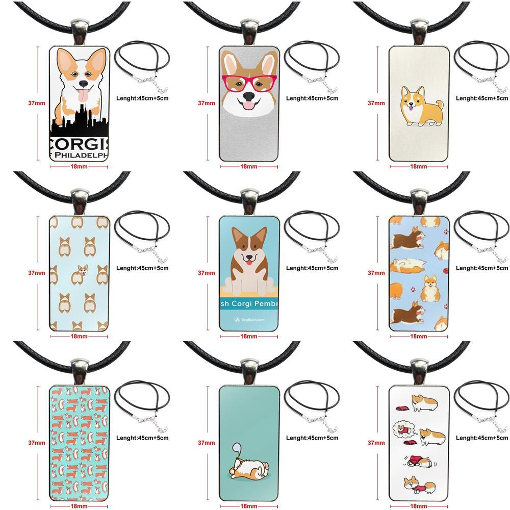 Für Frauen Mädchen Handmade Cartoon Niedliche Corgi Welsh Corgi Hund Halskette Mode Lange Kette Mit Rechteck Halskette Schmuck