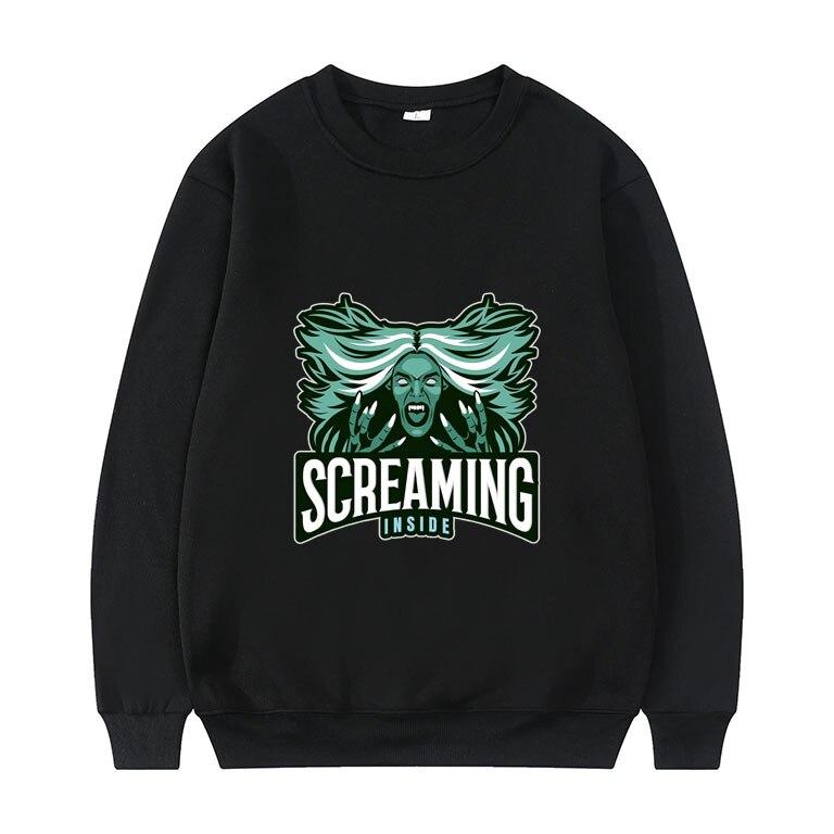 Screaming Inside - with Screaming Banshee Graphics Print Sweatshirt Men Women Hip Hop Crewneck Pullover Mens Fashion Sweatshirts