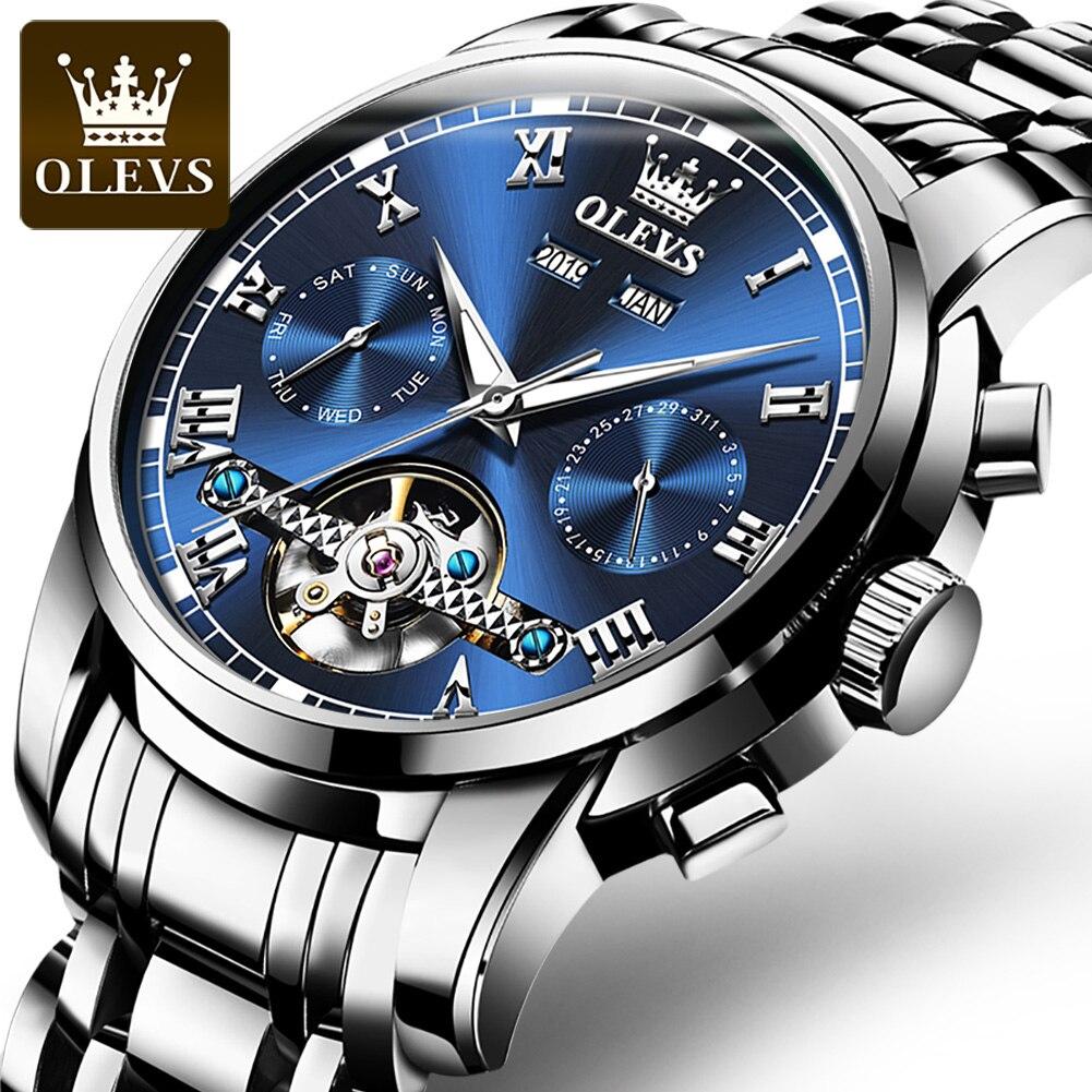 OLEVS العلامة التجارية الفاخرة الرجال ساعة أوتوماتيكية الفولاذ المقاوم للصدأ مقاوم للماء ساعات آلية رجالية الأعمال ساعة سوداء reloj hombre