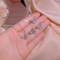 2021 new butterfly 925 silver womens jewelry set butterfly diamond ring necklace earrings three piece wedding bridal jewelry