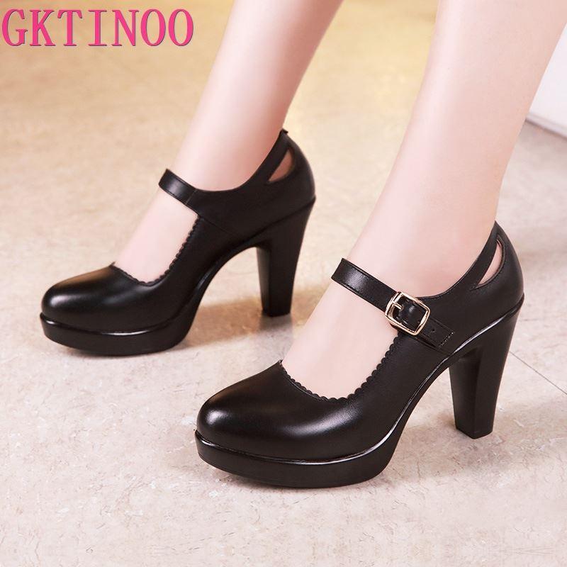 GKTINOO zapatos de plataforma de tacón de bloque de tamaño grande 33-43 zapatos de mujer 2020 negro zapatos Mary Jane mujer tacones altos zapatos de cuero de oficina