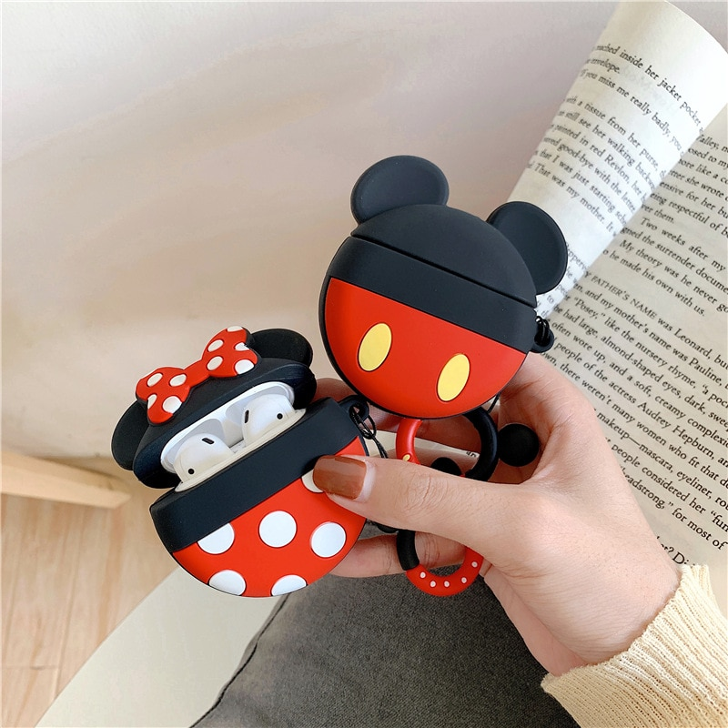 Funda de auriculares Bluetooth para Airpods pro, accesorios de silicona, funda protectora con correa de anillo, bonita caricatura Mickey Minnie 3D