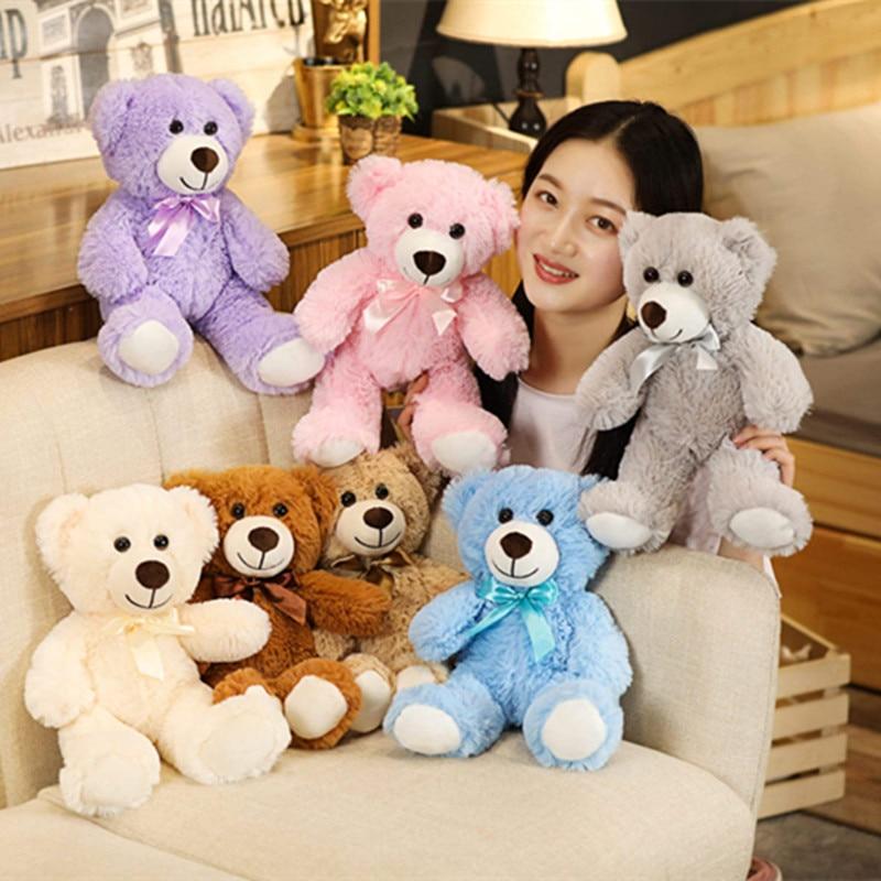 Oso de peluche de colores vivos de 35cm de buena calidad, juguetes de peluche suaves de Anime, almohada de felpa y peluche, casa de muñecas, juguetes calientes, regalo de cumpleaños