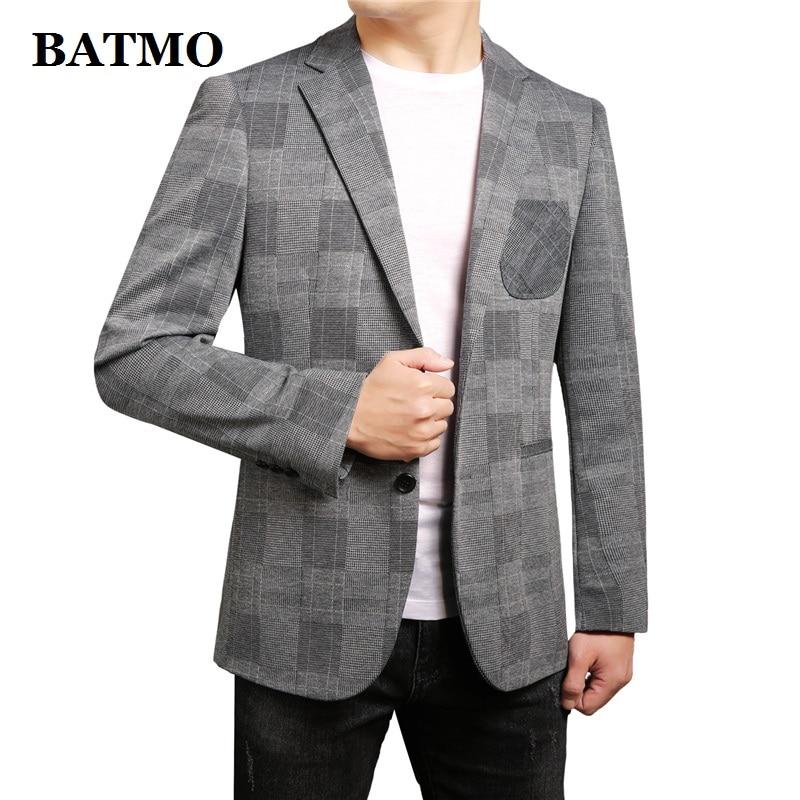 Batmo 2020 nova chegada primavera xadrez casual blazer masculino, jaquetas xadrez masculinas, tamanhos grandes M-4XL