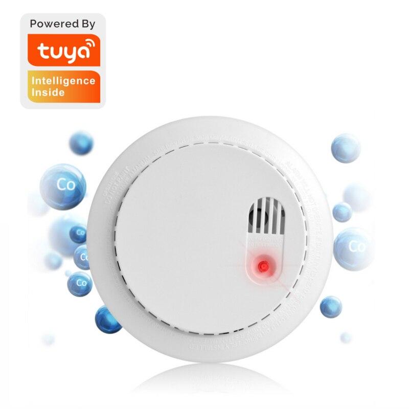 Tuya Wifi الذكية CO أول أكسيد الكربون كاشف الدخان نظام الحماية المنزلي رجال الاطفاء الدخان إنذار العمل مع استشعار الحياة الذكية