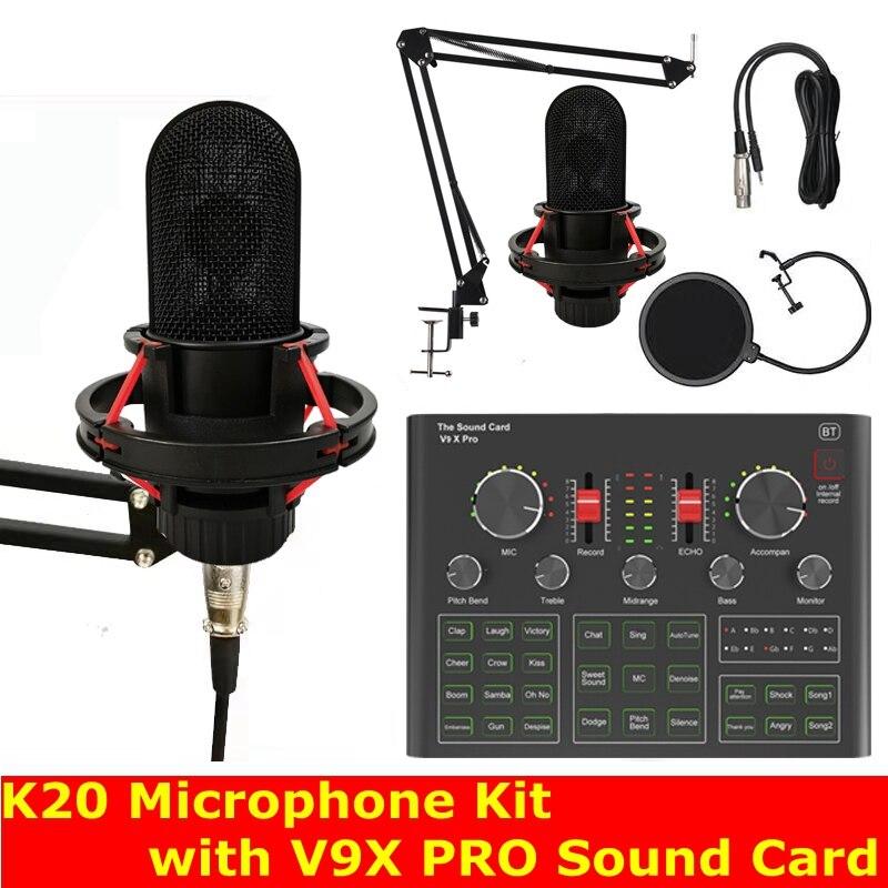 Placa de Som Microfone com V9x Kit para Estúdio ao Vivo Condensador Microfone Smartphone Computador Jogos Karaoke tk Mic K20 Pro dj