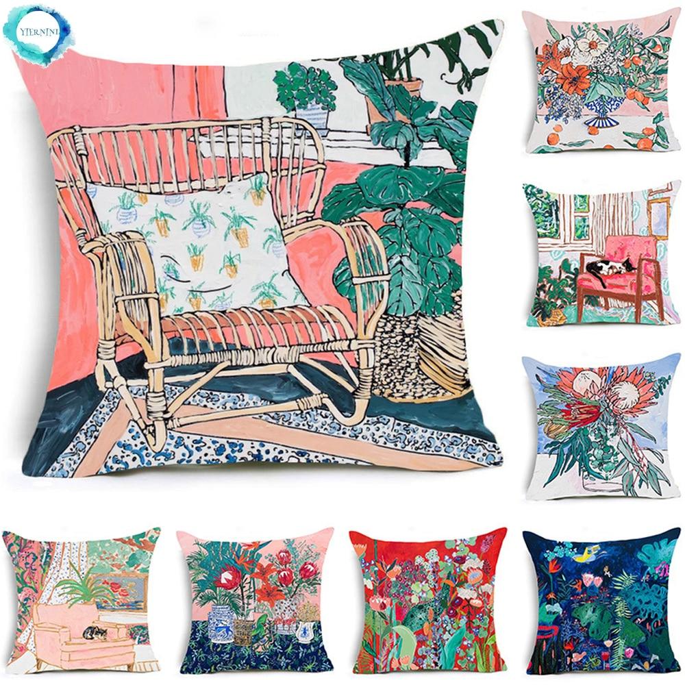 Flor moderna capa de almofada de linho de algodão sofá cadeira pintura a óleo decorativo lance almofadas fronha decoração para casa 45x45cm