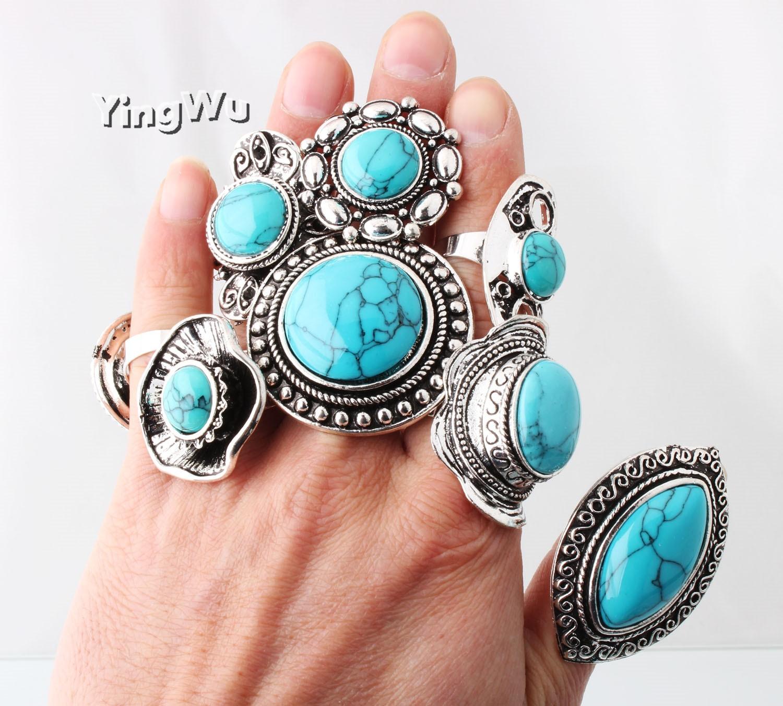 Yingwu tibetano azul turquesa anéis feitos à mão stearing prata tamanho ajustável pedra preciosa anel de dedo 20 peças