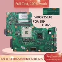 for toshiba satellite c650 c655 6050a 2423501 mb a02 v000225140 hm65 pga 989 notebook motherboard mainboard full test 100 work