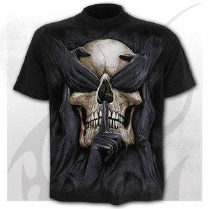 6XL New design Skull t-shirt men black t-shirt funny punk rock clothes 3d printing t-shirt hip hop men's summer street clothing
