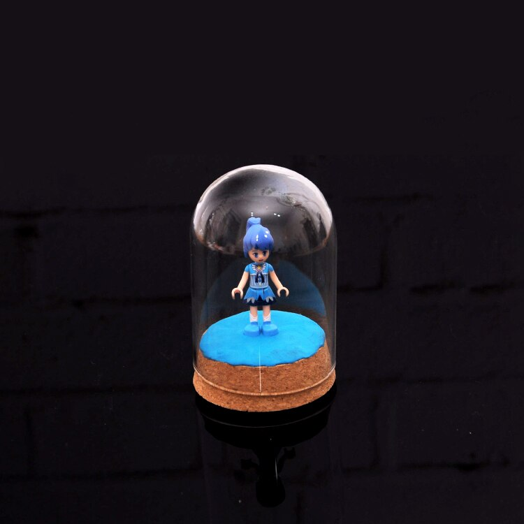 Mini cubierta de cúpula de Hemisferio de vidrio transparente escudo cabujón con vitrina de corcho para tienda Café Bar Café casa