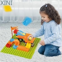 xini marble race run block for kids big size compatible duploed building plastic diy assembly bricks toys for children gifts