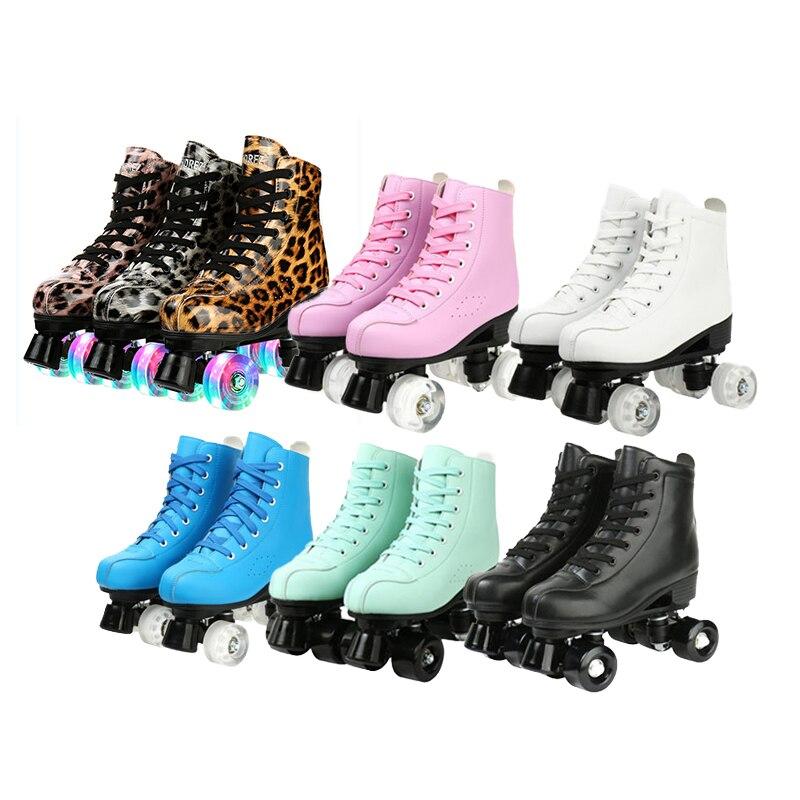 2021 микрофибра коньки обувь для начинающих роликовые коньки взрослые двухрядные роликовые туфли женские PU колеса скользящие Quad кроссовки