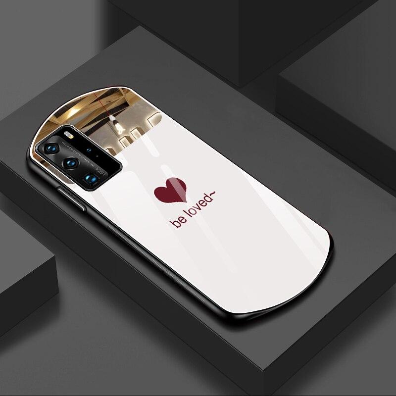 Роскошный милый Овальный чехол для телефона из закаленного стекла в форме сердца для Huawei P40 P30 Mate 30 20 Pro Nova 7 6 5, зеркальный силиконовый чехол