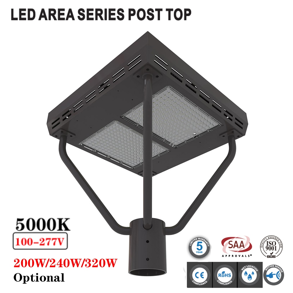 200/240/320W LED poste de superficie superior accesorios 5000K exterior farola jardín lámpara Led estilo calle parques Hotel iluminación