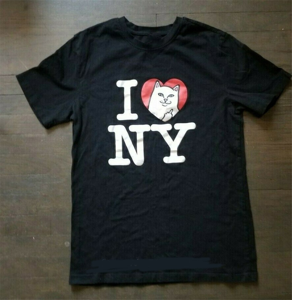 Camiseta negra Rip N Dip de verano Nwot Cat New York Urban para jóvenes de mediana edad, Camiseta de algodón para hombres